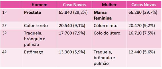 Epidemiologia dos principais cânceres no Brasil, exceto os de pele não-melanoma.
